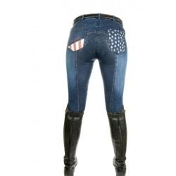 HKM Rijbroek denim Stars & Stripes maat 38